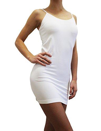 Spaghetti Strap Slip Dress - New Kathy Cami Tank Bodycon - One Size - Spaghetti Strap Slip Mini Dress (White)