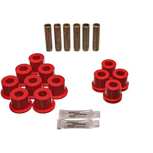 Main Axle - Energy Suspension 3.2108R Leaf Spring Bushing Set; Red; Rear; w/1 3/8 in. OD Frame Shackle; 1.5 in. Main Eye; 1700-2800 lb. Axle Rating; Performance Polyurethane;