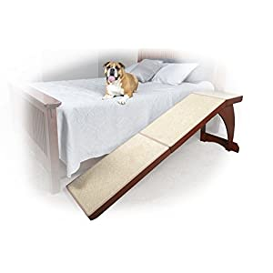 PetSafe CozyUp Bed Ramp for Dogs and Cats - Durable Frame Supports up to 120lb - Furniture Grade Wood Pet Ramp with Cherry or White Finish - High-Traction Carpet Surface – Great for Older Animals 6