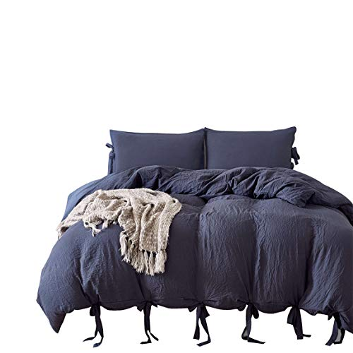 iAsteria Bowtie Duvet Cover Set, Soft Microfiber Bedding, Modern Pattern Design, with Zip and Ties - 3PCS, Navy Blue, King