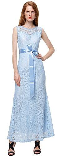 U-shot Vestidos Para Mujer Floral de Encaje Elegante Noche Vestido Largo Azul Claro