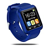 GEZICHTA Bluetooth Smart Watch U8 Sport Wrist Watch Fit for Smartphones iOS Android, Best Smart Phone Mate with Pedometer Remote,Touch Screen for Men Women Kids (deep Blue)