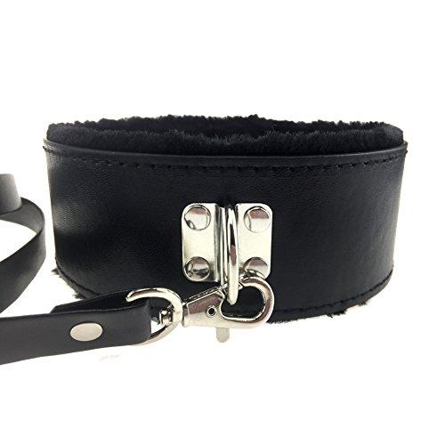 PU Leather Soft Neck Choker Collar with Chain Detachable Leash for Men Women (Black)