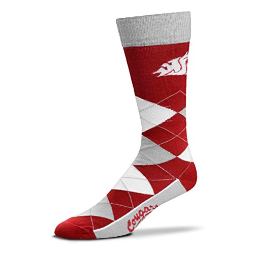 Washington State Acrylic - For Bare Feet NCAA Argyle Lineup Unisex Crew Dress Socks-One Size Fits Most-Washington State Cougars