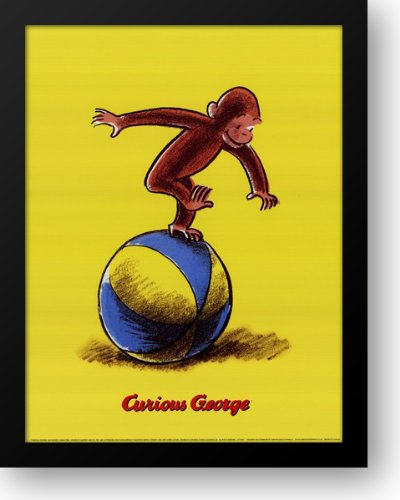 (Curious George Plays on a Ball 16x20 Framed Art Print by Rey, H. A.)