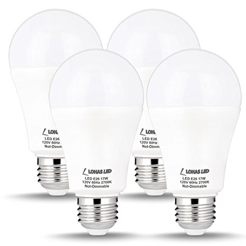 LOHAS LED A19 100W-150W Light Bulbs Equivalent, LED Bulb Warm Light 2700K Daylight 17Watt, E26 Edison Base Bulb A19 120V, Not Dimmable, 1600 Lumens, LED Home Lighting Flood Lamp(4 PACK)