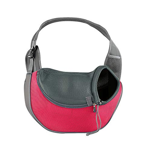 BIGWING Style Pet Sling Carrier for Dog Cat Pets Travel Shoulder Bags (L(Up to 15 lbs), Pink (Sling Style Pet Carrier)