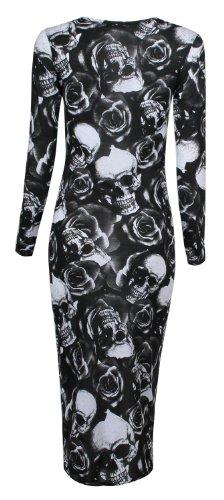 Fast Fashion - Robe long Sleeves Leopard Aaugmenté Crâne Zèbre Imprimé Serpent Midi - Femme (SM = 36/38, Rose crâne Imprimer)