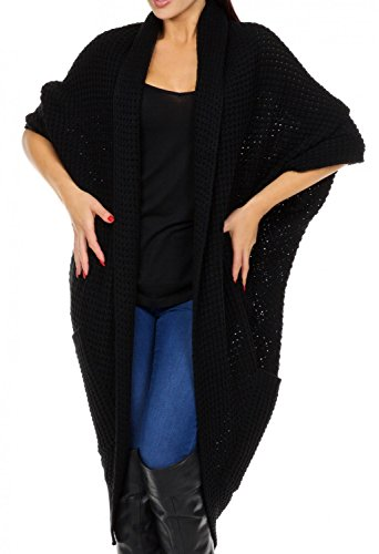 Glamour Empire Cárdigan largo de punto grueso con bolsillos para mujer - 289 Negro