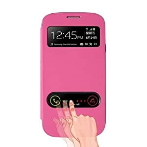 ZPS Slim Leather Flip S-view Window Cover Case for Samsung Galaxy S3 III I9300 (Hot pink)