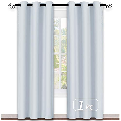 NICETOWN Greyish White Window Curtain and Drape Easy Care Solid Thermal Insulated Grommet Room Darkening Drapery for Kids' Room (1 Panel, 42 by 84, Platinum-Greyish White) -