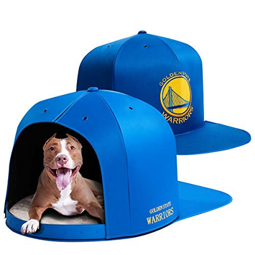 (NAP CAP NBA Golden State Warriors Team Indoor Pet Bed, Blue (Large))