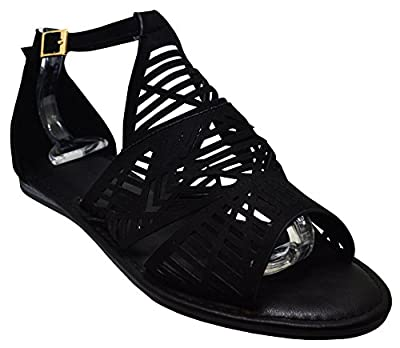 Bamboo Happiness-01M Womens Open Toe Laser Cut Gladiator Flat Black Fs Size 10