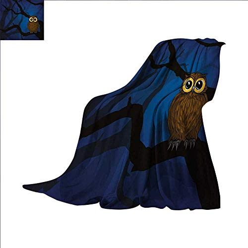 Night Super Soft Lightweight Blanket Cute Owl Sitting on a Tree Branch Mysterious Woods Spooky Forest Cartoon Oversized Travel Throw Cover Blanket 70 x 60 inch Navy Blue Black Brown ()