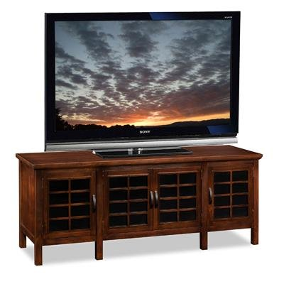 - Riley Holliday by Leick Chocolate and Black glass 60 inch TV Console - 81160