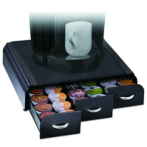 Holder Places (Mind Reader 'Anchor' Triple Drawer K-Cup Dolce Gusto, CBTL, Verismo Single Serve Coffee Pod Holder, Black)