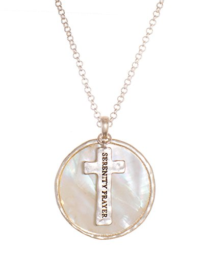 (Jewelry Nexus The Serenity Prayer Stamped Cross Simulated Mother of Pearl Medallion Necklace)