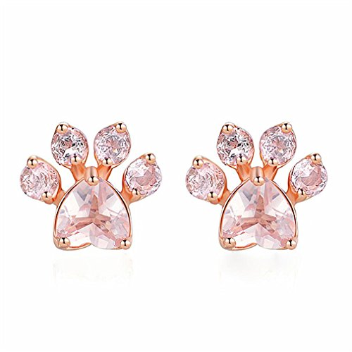 - Paymenow Clearance Women Girls Charms Bear Leg Flower Rhinestone Crystal Stud Earrings Fashion Love Heart Shape Earrings Jewelry (Rose Gold)