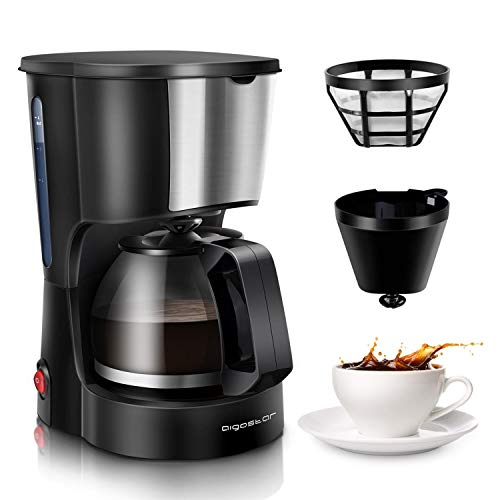 Aigostar 4 Cup Drip Coffee Maker, Coffee Pot Machine with Reusable Filter and Glass Carafe Compact Cofeemakers for Home…