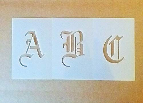 3 Inch Old English Font Alphabet Set Stencil - Uppercase
