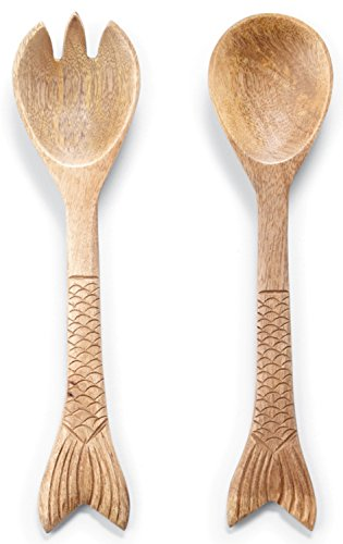 Salad Mary Spoon Serving (Fish Tail Embossed Wood Fork and Spoon Salad Servers Set)