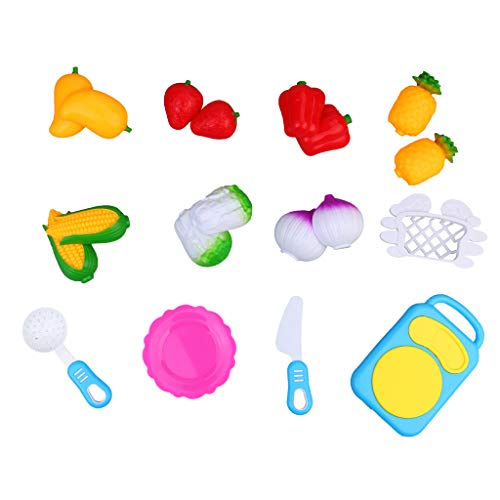 CapsA 12PCS Fruit and Vegetables Play Kitchen Food for Pretend Cutting Food Toys Educational Playset with Toy Knife Cutting Board Children Kid Educational Toy (Blue) from CapsA-Toys