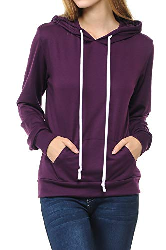 - SSOULM Women's Casual Long Sleeve Pullover Hoodie with Kangaroo Pockets Plum M