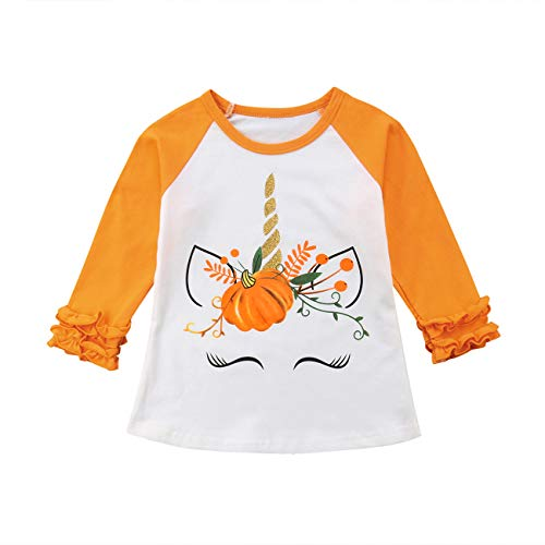 Toddler Baby Kids Girl Unicorn Pumpkin Print Long Sleeve Cotton T-Shirt Top (2 T, Orange)