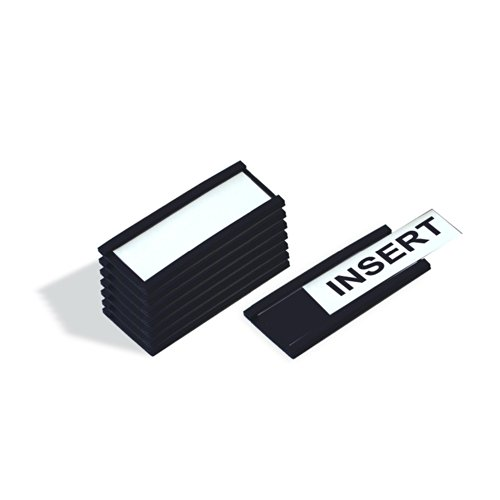 MasterVision FM1310 Magnetic Data Card Holders, 1 x 2 Inches, Black, Pack of 25 - Label Card Holders