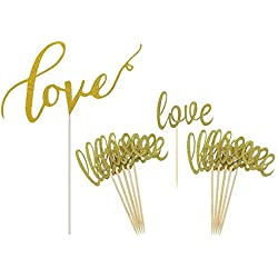 Gold Love Cake Topper Mini Love Cupcake Toppers Picks for Wedding Bridal Shower Engagement Decorations Supplies by GOCROWN