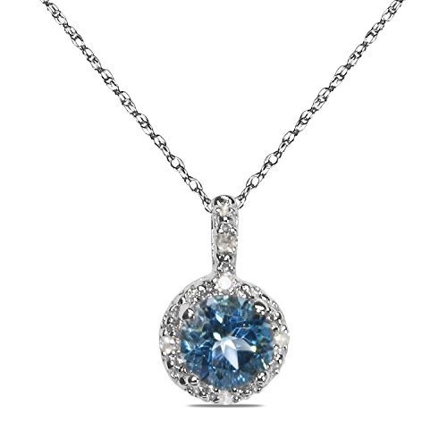 """.025CT Diamond with Blue Topaz in 10k White Gold in Pendant with Complimentary 18"""" Chain"""