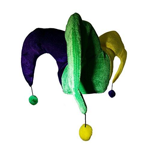 Nicky Bigs Novelties Mardi Gras Pom Pom Jester Hat Purple Green Yellow Clown Joker Parade Costume Hat (Hats Gras Mardi Costume Jester)