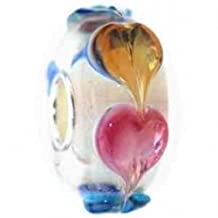Beads Hunter Ring Of Hearts Circle Of Love Bead Charm With Solid Sterling Silver Core Murano Glass Bead.