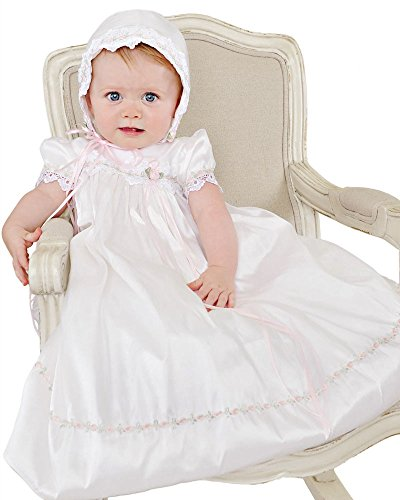 Silk Dupioni Gown - Tess Newborn Silk Christening Baptism Blessing Gown for Girls, Made in USA