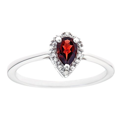 Sterling Silver 6x4mm Pear Shaped 0.45 Cttw Genuine Natural Garnet Diamond Accent Ring - Size (Pear Shaped Garnet Ring)