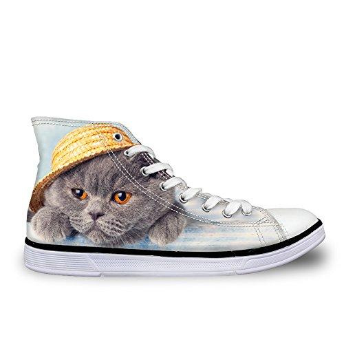 Per Te Progetta Sneakers Animalier Gatto Per Donna Scarpe Da College High Top Da College, Antiscivolo Cat-16