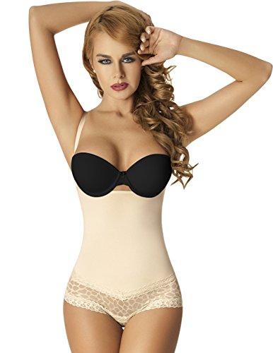 Moldeate Women's Waist Cincher Lace Brief Bodysuit Body Shaper Large Beige