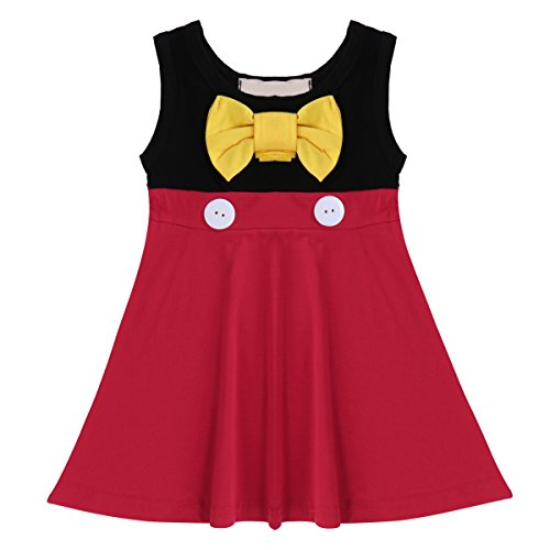 Kid Girl Princess Summer Snow White Mermaid Cartoon Cosplay Costume Fancy Birthday Party Tutu Casual Dress Up T Shirt Skirt Minnie Red 5 Years