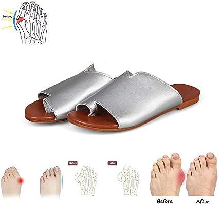 GRASSAIR Sandalias de Mujer, Zapatos de corrección de Dedo Gordo del pie Mujer Verano Playa Zapatillas de Viaje de Cuero de PU Coronetes de Corrector para Mujer,Silver,48: Amazon.es: Hogar