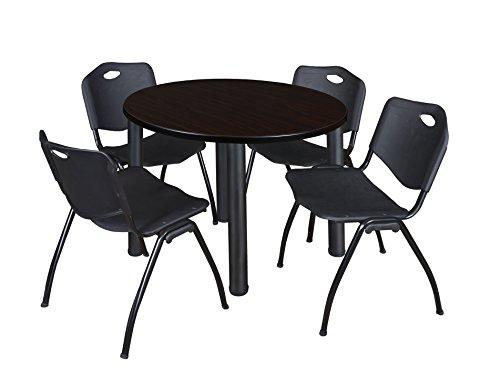 "Kee 36"" Round Breakroom Table- Mocha Walnut/ Black & 4 'M' Stack Chairs- Black"