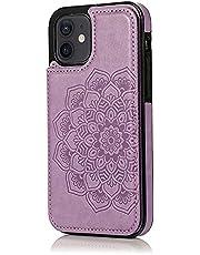 Lijc Hoesje voor iphone 12 Mini Dubbele Knop Mandala Reliëf PU-Leer Kaarthouders [Kaartsleuf] [Stand-Functie] Schokbestendige Flip Wallet Case Cover-Purper