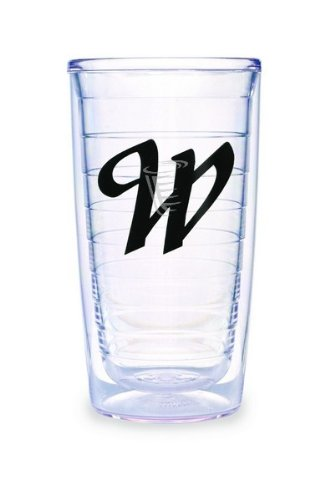 (Tervis Tumbler Black Laser Twill Initial - W 16-Ounce Double Wall Insulated Tumbler Set of 4)