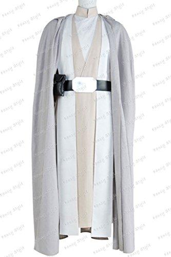 Luke Skywalker Costume Black (Star Wars The Force Awakens Luke Skywalker Cosplay Costume Robe Outfits Grey White XL)