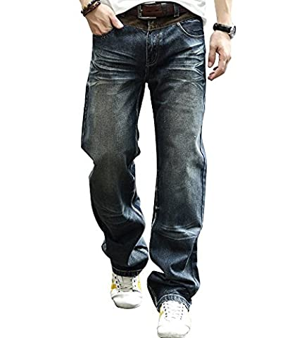 YOYEAH Men's Leisure comfortable Loose Big Tall Straight-Leg Jeans 42 Blue - Glenna Jean Jeans