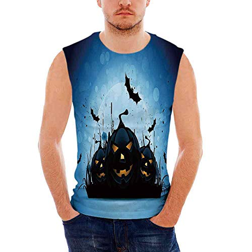 Mens Performance Muscle T- Shirts Halloween,Scary Pumpkins in Grass with Bats F]()
