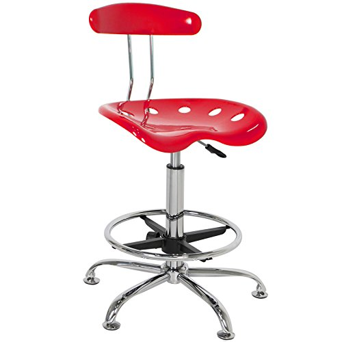 Chair Modern Red Bar Stools Swivel Chrome Drafting ABS plastic seat