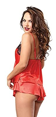 Dreamgirl Women's Lace and Satin Camisole and Tap Short Set