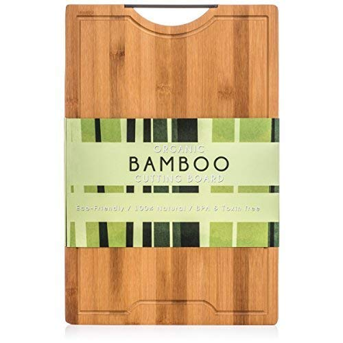 Best Designed Organic Bamboo Cutting Board - Thick Strong Bamboo (XL - 18'' x 12'')