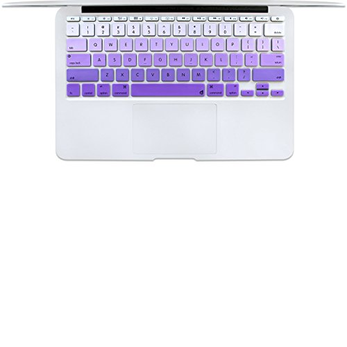 Masino Silicone Keyboard Cover Ultra Thin Protective Skin for 11 11.6 Inch MacBook Air Model A1370 & A1465 (1 PCS, Gradient- Purple)