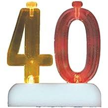 Flashing Number 40 Cake Topper & Birthday Candle Set, 5pc